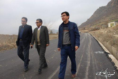 بازدید بخشدار پیشکمر از اجرای عملیات آسفالت معابر روستای زاو بالا