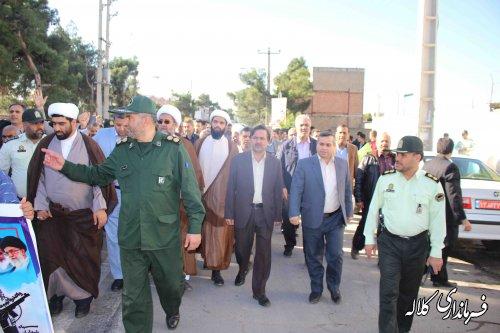 مراسم راهپيمايي يوم الله 13 آبان در شهرستان کلاله برگزار شد