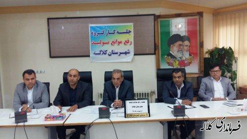 اولین جلسه کارگروه رفع موانع تولید شهرستان کلاله برگزار شد