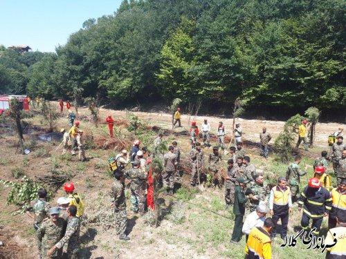 مانور اطفاءحریق در منطقه جنگل اقسو کلاله برگزار شد