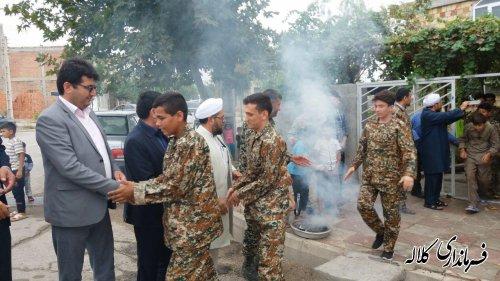 برگزاری مراسم اعزام نمادین بسیجیان به جبهه در شهر فراغی بخش پیشکمر