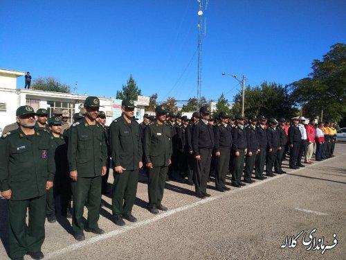 صبحگاه مشترک نیروهای مسلح و دستگاه های امدادی کلاله برگزار شد