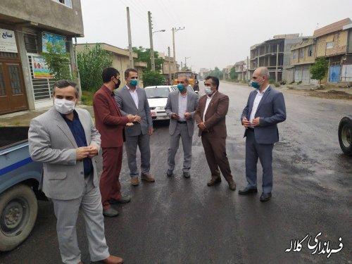 بازدید فرماندار کلاله از روند اجرای پروژه آسفالت روستای قوجمز و اجن یلی