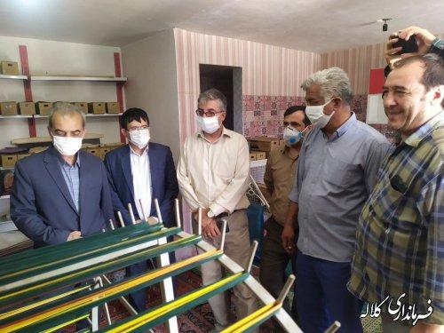 بازدید فرماندار کلاله از کارگاه ابریشم بافی در روستای عزیز آباد
