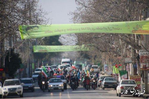 راهپیمایی ۲۲ بهمن به صورت خودرویی و موتوری در کلاله برگزار شد