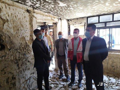بازدید فرماندار کلاله از منزل حادثه دیده روستایی