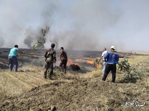 آتش سوزی گندم زارهای روستای یلی بدراق کلاله مهار شد